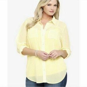 Torrid Yellow Striped Sheer Button Down Blouse 1x